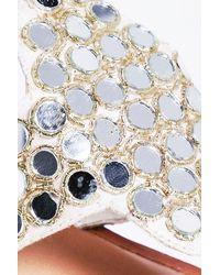 Boohoo - White Nancy Mirror Trim Thong Leather Sandal - Lyst