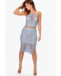 Boohoo Gray Boutique Alia Lace Border Hem Midi Dress