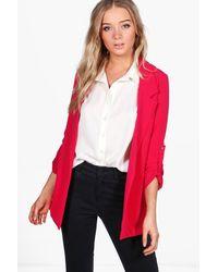 Boohoo - Pink Luna Turn Up Sleeve Woven Blazer - Lyst