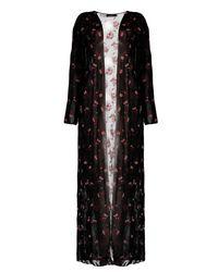 Boohoo Black Liz Maxi Floral Kimono