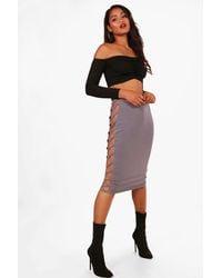 743db5e90 Lyst - Boohoo Slinky Extreme Ladder Side Midi Skirt in Purple
