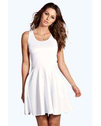 Boohoo - White Maya Scoop Neck Skater Dress - Lyst