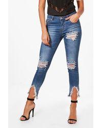 Boohoo Blue Pearl Detail Distressed Skinny Jeans