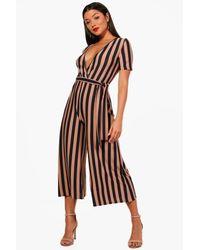 Boohoo - Blue Brie Wrap Front Stripe Culotte Jumpsuit - Lyst
