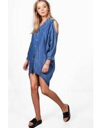 Boohoo - Blue Louise Oversized Cold Shoulder Denim Dress - Lyst