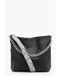 Boohoo - Black Ella Structured Crosshatch Bar Tote Bag - Lyst