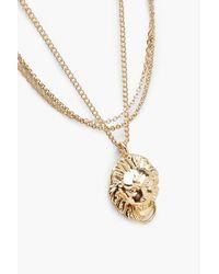 Boohoo - Metallic Lion Layered Chain Necklace - Lyst