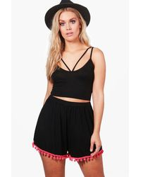Boohoo Black Plus Harriet Pom Pom Trim Flippy Short