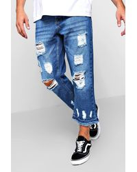 Boohoo Blue Cropped Distressed Jeans With Raw Hem for men