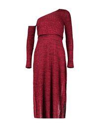 Boohoo Black Aoife Asymmetric Bardot Ribbed Midi Dress