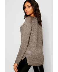 Boohoo - Gray Metallic Twisted Knitted Sweater - Lyst