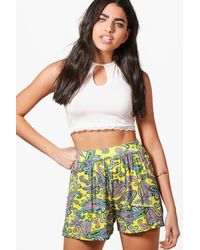 Boohoo - Yellow Jeane Floral Hippy Shorts - Lyst