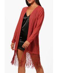 Boohoo Red Boutique Beaded Tassel Kimono