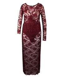 Boohoo Red Plus Lace Wrap Front Maxi Dress