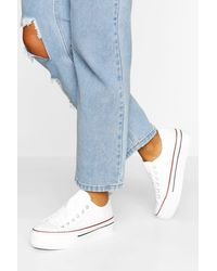 Boohoo White Platform Canvas Lace Up Sneakers
