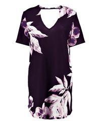 Boohoo - Black Holly Floral Curved Hem Choker Shift Dress - Lyst