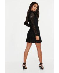 Boohoo White Womens Lace Frill Detail Mini Dress