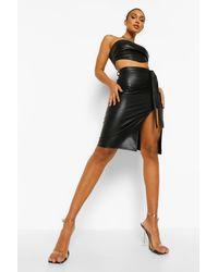 Leather Look Belted Split Hem Midi Skirt Boohoo de color Black