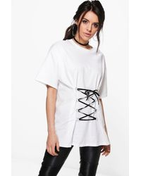 Boohoo White Hannah Lace Up Corset Front T-shirt