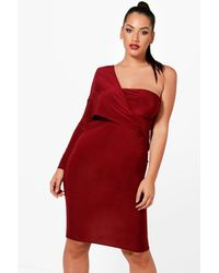 Boohoo Red Plus Knot Front Asymmetric Bodycon Dress