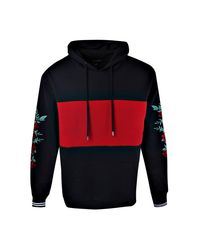 Boohoo - Red Loose Fit Colour Block Embroidery Hoodie for Men - Lyst