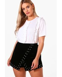 Boohoo White Plus Tammy Ruffle Front T Shirt