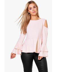 Boohoo - Pink Plus Evelyn Ruffle Sleeve Peplum Top - Lyst