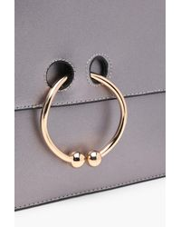 Boohoo Gray Scarlet Piened Circle Clutch Bag
