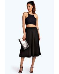 Boohoo   Black Arianna Plain Full Circle Midi Skirt   Lyst