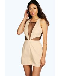 Boohoo - Natural Maria Mesh Insert Woven Playsuit - Lyst