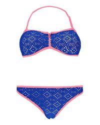 Boohoo Blue Peru Contrast Neon Crochet Zip Bandeau Bikini