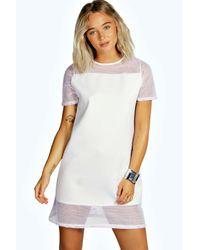 Boohoo White Sia Mesh Panel Shift Dress