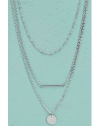 Boohoo | Metallic Maria Bar And Coin Layered Necklace | Lyst