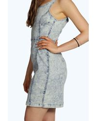 Boohoo Blue Darcy Denim Bandage Bodycon Dress