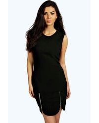 Boohoo Black Emma Hem Zip Detail Bodycon Dress