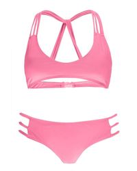 Boohoo - Pink Rhodes Strap Back Detail Bikini - Lyst