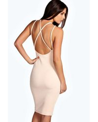 Boohoo Natural Molly Textured Strappy Detail Midi Bodycon Dress