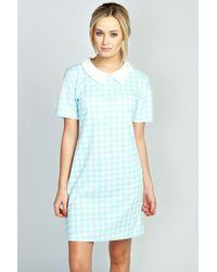 Boohoo Blue Alex Dogtooth Collar Dress