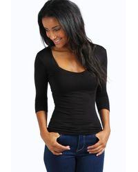 Boohoo | Black Jenny Sweetheart Neck Longline Top | Lyst