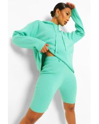 Boohoo Green Womens Gestrickter Zweiteiler Aus Hoodie Und Shorts