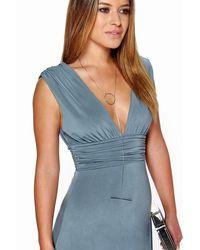 Boohoo Blue Petite Plunge Ruched Maxi Dress