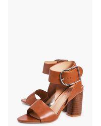 Boohoo Brown Abbie D Ring Block Heel Wide Fit Sandal