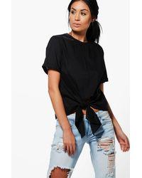 Boohoo - Black Kayla Knot Tie Front Short Sleeve Woven Shirt - Lyst