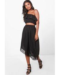 Boohoo Black Hannah Frill Crop & Asymmetric Skirt Co-ord Set