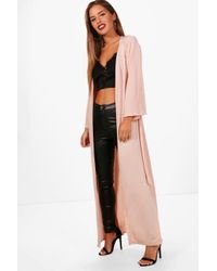Boohoo - Multicolor Petite Gigi Wide Sleeve Belted Side Split Duster - Lyst