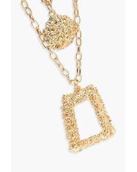 Boohoo - Metallic Oversized Textured Layered Necklace - Lyst