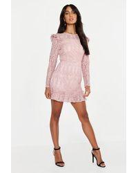 Boohoo Pink Womens Lace Frill Detail Mini Dress