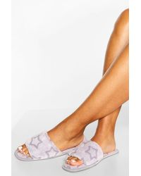 Boohoo Gray Burnout Star Slippers