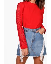 Boohoo Red Lace Insert Sleeve Top