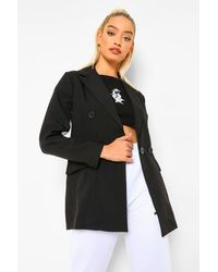 Boohoo Black Petite Organza Sleeve Double Breasted Blazer